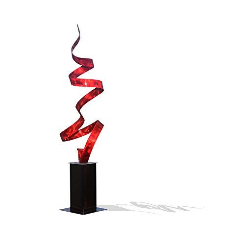 Statements2000 Large Red Indoor-Outdoor Sculpture - Yard Art - Abstract Metal Sculpture - Garden Decor - Red Twist by Jon Allen