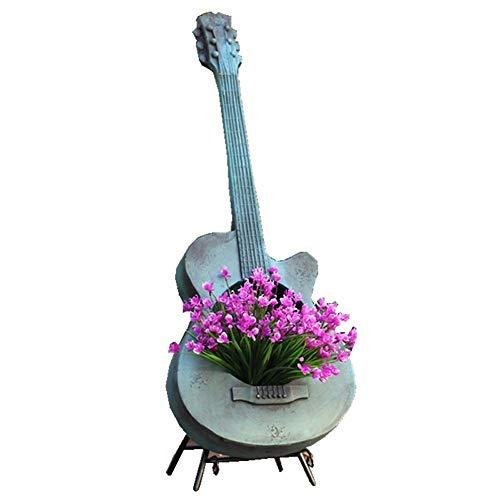 Zxcvlina-GG Guitar Art Flower Pot Garden Sculpture for Balcony Garden Landscaping Terrace Decoration Courtyard with Holes Patio Ornaments Color  Bronze Size  38x10x102cm