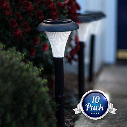 Gardenjoy 10 Pack Of Outdoor Solar Garden Lights Transform Your Yard Path Lawnamp Landscape Lighting