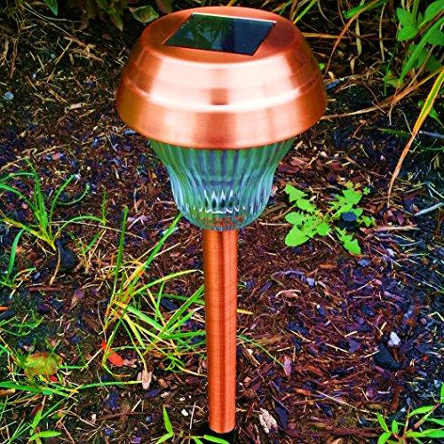 Promotion 6pcs-Pack WhiteBlue Dual LED Glass Lens Copper Finish Solar Lights Outdoor Sogrand Solar Pathway Lights Solar Landscape Lighting Solar Path Lights Solar Garden Lights