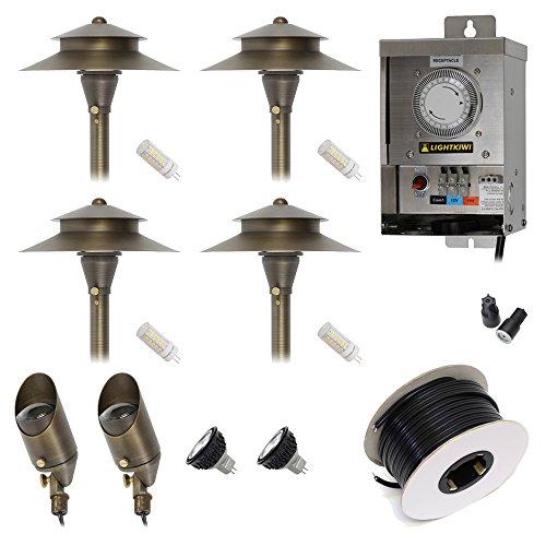 Lightkiwi D7988 Low Voltage LED Landscape Lighting Kit - 2 Spotlight 4 Path Light Kit
