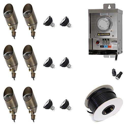 Lightkiwi F6037 Low Voltage LED Landscape Lighting Kit - 6 Spotlight Kit