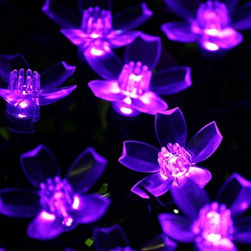 Dephen Solar Flower String Lights 22ft 50 Led Fairy Peach Blossom Christmas Lights For Outdoor Garden Lawn Patio