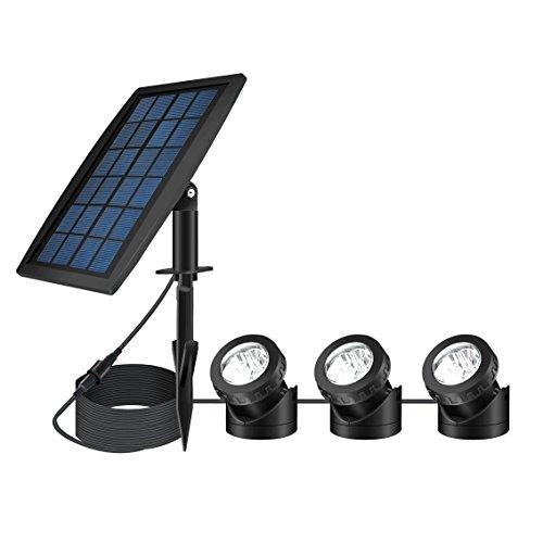 Feifeier Weatherproof Solar Powered Pure White Color Led Landscape Spotlight 3 Lamps Adjustable Lighting Angle
