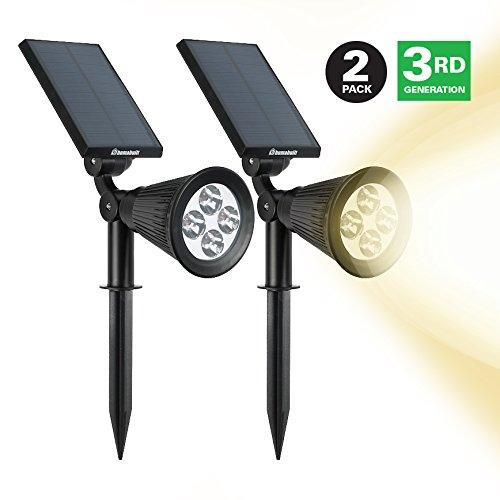 Humabuilt 200 Lumens Led Spotlight - Solar Powered Exterior Landscape Lighting For Your Patio Poolamp Garden -
