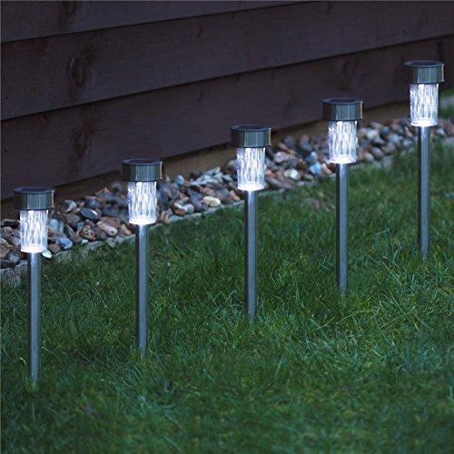 Pathway Light 5pcs Garden Outdoor Stainless Steel LED Solar Landscape Path Lights Yard Lamp Hk Low Voltage Deck Lights