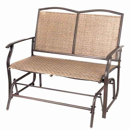 Naturefun Patio Swing Glider Bench Chair Garden Glider Rocking Loveseat Chair All Weatherproof Brown