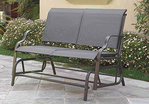 1perfectchoice Outdoor Patio Yard Glider Loveseat Bench Dark Grey Textilene Mesh Seating Grey
