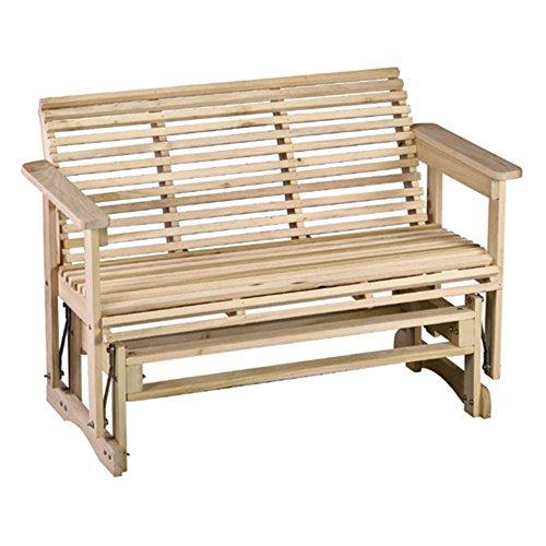 Beecham Swing Co Roll Bottom 4 ft Straight Back Wood Outdoor Glider Bench