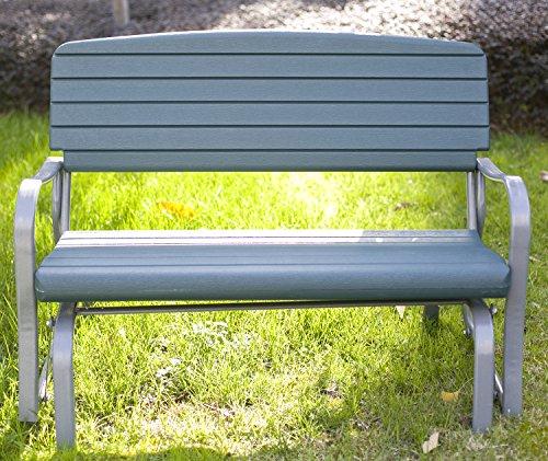 Merax 48 Inch Outdoor Glider Bench Rocking Outdoor Furniture Garden Bench Loveseat green
