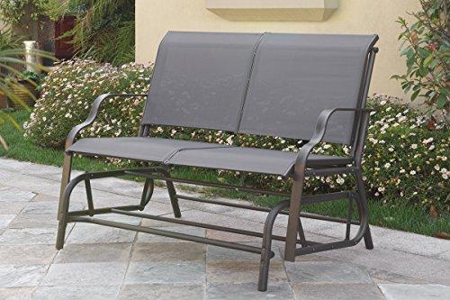 Outdoor Patio Swing Glider Loveseat Bench Chair Steel Frame In Dark Grey