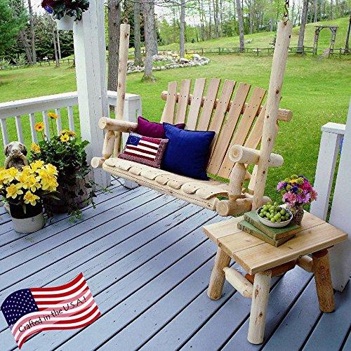 Lakeland Mills 5-foot Cedar Log Porch Swing Natural