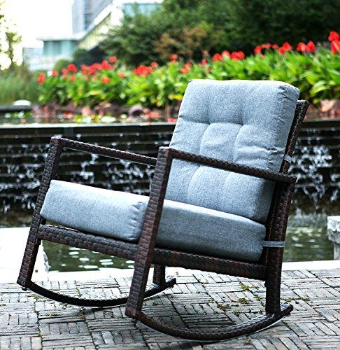 Merax Cushioned Rattan Rocker Chair Rocking Armchair Chair Outdoor Patio Glider Lounge Wicker Chair Furniture with Cushion Grey Cushion