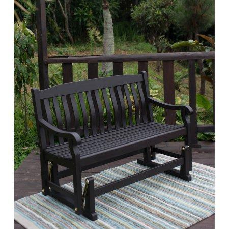 Delahey Outdoor Porch Glider Bench Dark Brown Seats 2