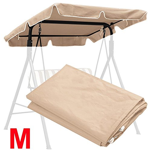 Yaheetech Waterproof Patio Swing Top Cover Canopy Replacement 180g Polyester Army Green Beige 66&quotx45&quot 77&quotx43&quot