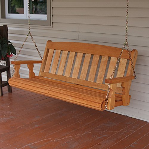 Amish Heavy Duty 800 Lb Mission 5ft Treated Porch Swing - Cedar Stain