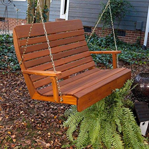 Porchgate Amish Made High Back Red Cedar Porch Swing