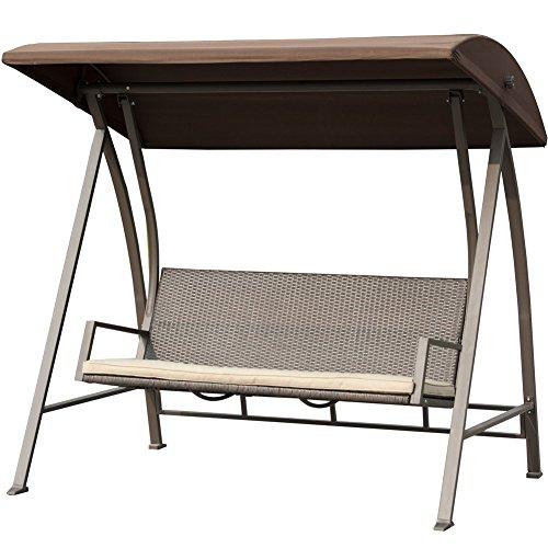Patiopost Outdoor Swing Chair Seats 3 Porch Patio Pe Wicker Swings With Steel Powder Coated Frame Dark Brown