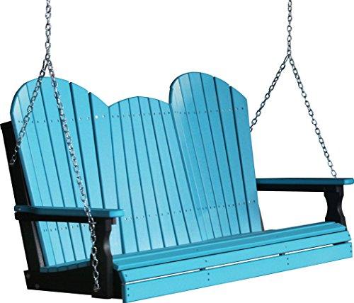 Outdoor Poly 5 Foot Porch Swing - Adirondack Design -Aruba Blue Color