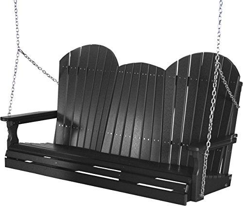 Outdoor Poly 5 Foot Porch Swing - Adirondack Design-Black Color