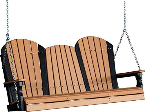 Outdoor Poly 5 Foot Porch Swing - Adirondack Design -Cedar and Black Color