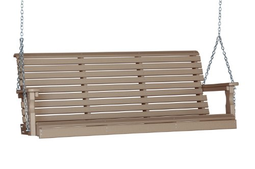 Outdoor Poly 5 Foot Porch Swing - Plain Rollback Design-Weatherwood Color