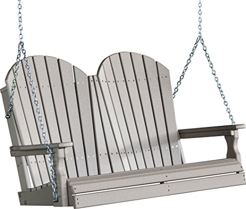 Outdoor Poly 4 Foot Porch Swing - Adirondack Design -Weatherwood Color
