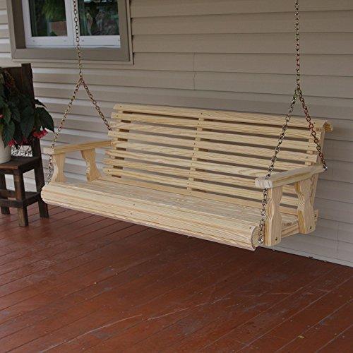 Amish Heavy Duty 800 Lb Roll Back 5ft Treated Porch Swing