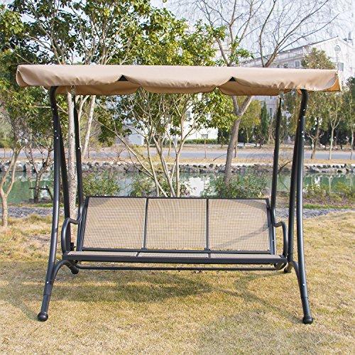 Bestmart INC Outdoor 3 person Canopy Swing Glider Hammock Chair Patio Backyard Textilene Seat Beach Porch Furniture