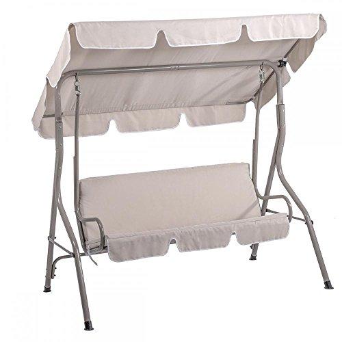 Canopy Swing Glider Hammock Chair Patio Backyard Porch Furniture Beige
