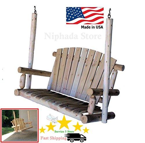 New Lakeland Mills Natural 4 Foot Cedar Log Porch Swing Decor Home Simpler Life po44t-kh435 H25w3378933