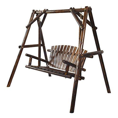 Rustic Design Porch Swing Log Fir Wood Slatted Back And Seat Burnt Finishgy583-4 6-dfg274723