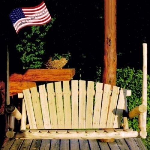 Rustic Log Porch Swing Natural Cedar 4 Feet Wooden Deck Outdoor Furniture po455k5u 7rk-b25095