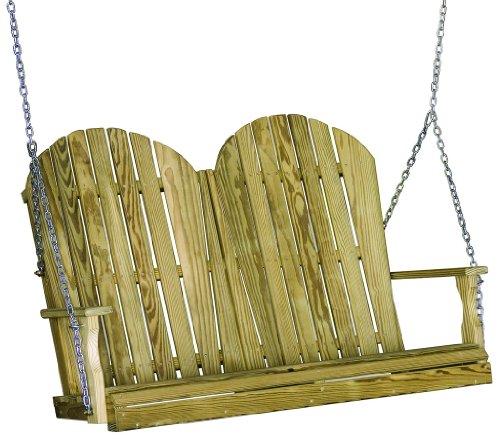 Outdoor 4 Foot Adirondack Porch Swing treated Pine Amish Made Usa