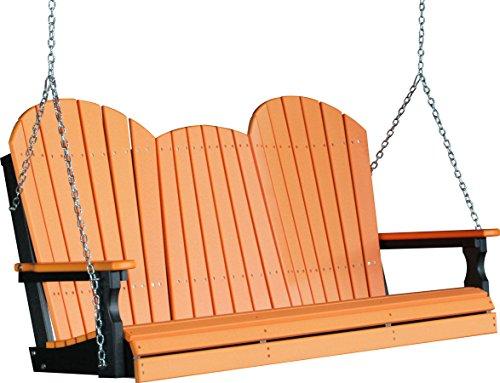 Outdoor Poly 5 Foot Porch Swing - Adirondack Design -tangerine Color