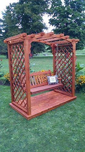 Amish-madequotjamesport&quot Style Cedar Arbor With Deckamp Swing - 6 Wide Walkthrough Redwood Stain