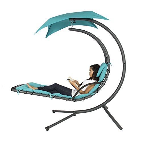 Best Choice Products&reg Hanging Chaise Lounger Chair Arc Stand Air Porch Swing Hammock Chair Canopy Teal
