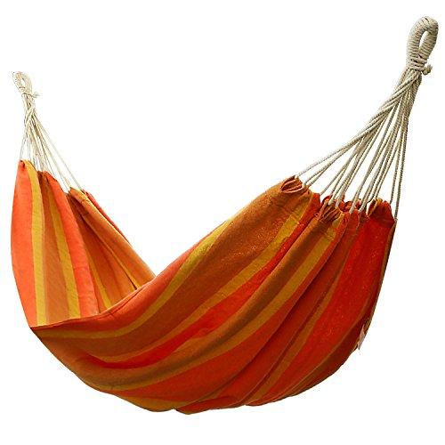 Ancheer Double 2 Person Splicing Color Cotton Fabric Portable Hanging Indoor Outdoor Camping Hammock