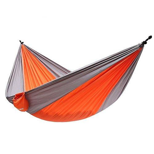 Ohuhu Double Camping Hammock Tear-resistant Nylon Orangeamp Gray