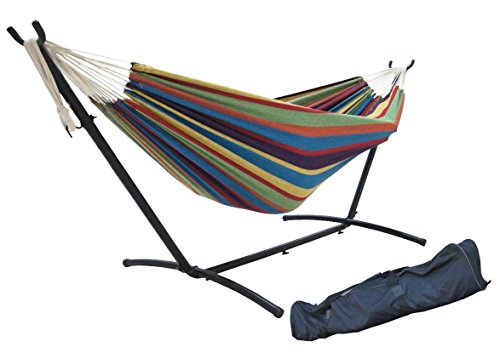 SueSport Double Hammock With Space Saving Steel Stand Includes Portable Carrying Case Tropical