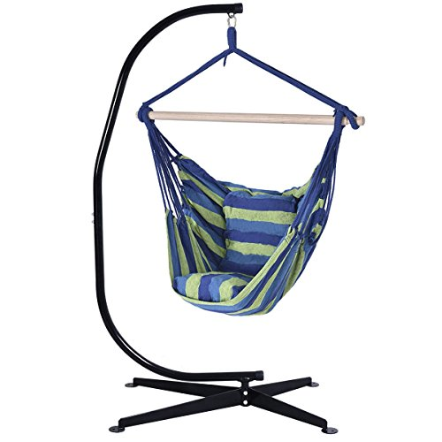 Giantex Hammock C Frame Stand Solid Steel Construction For Hanging Air Porch Swing Chair BlueGreen