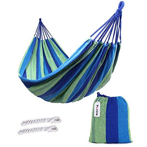 Kottle Outdoor Soft Cotton Fabric Brazilian Hammock Double Wide 2 Person Travel Camping Hammock blue