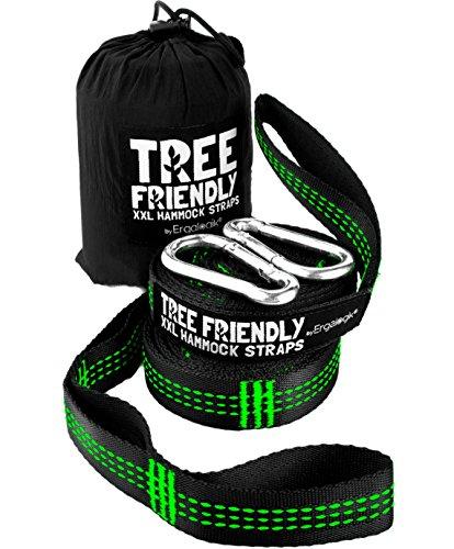 NEW ErgaLogik XXL Tree Friendly Suspension Hammock Straps - 20 Feet Total - 34 Loops 17 per Strap - Heavy Duty - Camping Hammock Accessories Hiking Green