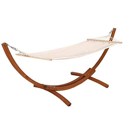 Patio Garden Furniture 142x50x51 Wooden Curved Arc Hammock Stand with Cotton Garden Outdoor