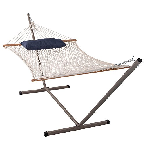 Sundale Outdoor Cotton Rope Hammock With 12 Feet Steel Stand And Pillow Combo