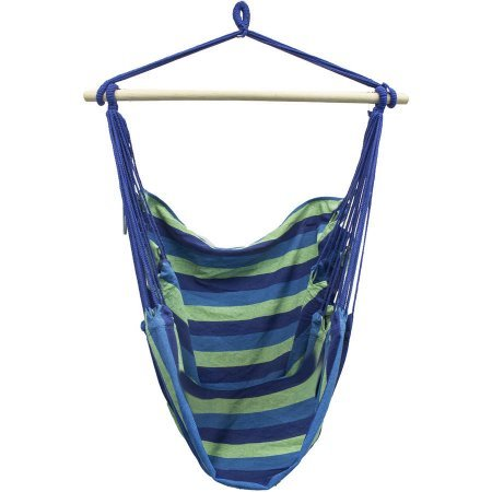 Large Cotton Weave Brazilian Hammock Chair Swing Set Extra-Long Bed Blue and Green Stripes