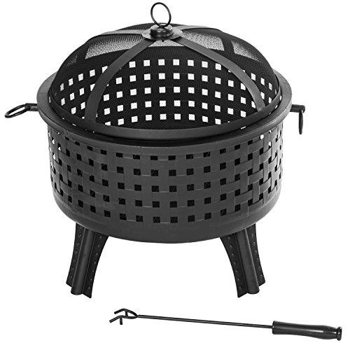 Merax 22 Inch Steel Fire Pit Outdoor Garden Patio Fireplace Fire Bowl Black