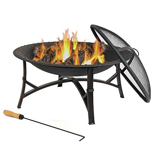 Sunnydaze Black Hammered Steel Fire Pit 29 Inch Diameter