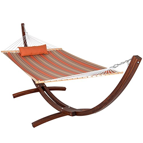 Lazydaze Hammocks&reg Sunbrella&reg Fabric Hammock And 12 Feet Wood Arc Hammock Standbackyard Combo Set passage Poppy