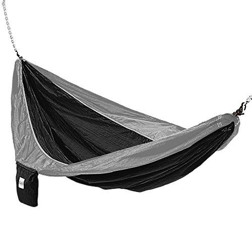 Hammaka Parachute Silk Lightweight Portable Double Hammock BlackGrey